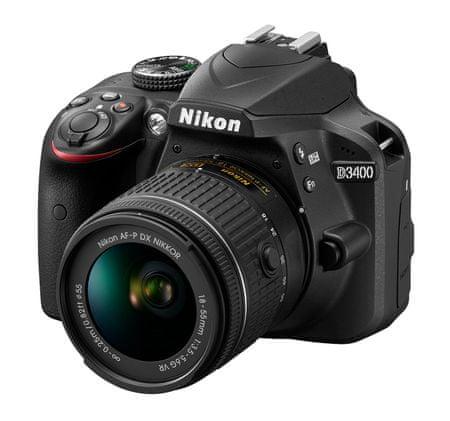 Nikon digitalni fotoaparat D3400 AF-P 18-55 VR, črn