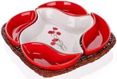 Banquet skledice Red Poppy v košarici, 5 delni