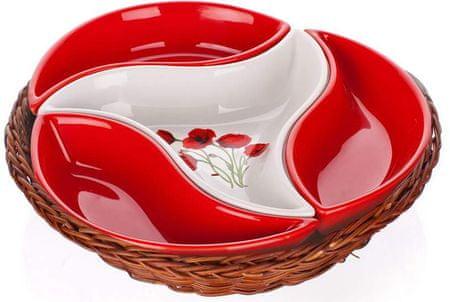 Banquet Red Poppy Kínáló tál kosárban, 4 részes