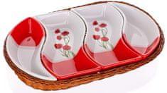 Banquet Red Poppy Ovális kínáló tál kosárban, 4 részes
