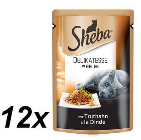 Sheba hrana za odrasle mačke Delikatesse in Gelee, puran, 12 x 85g