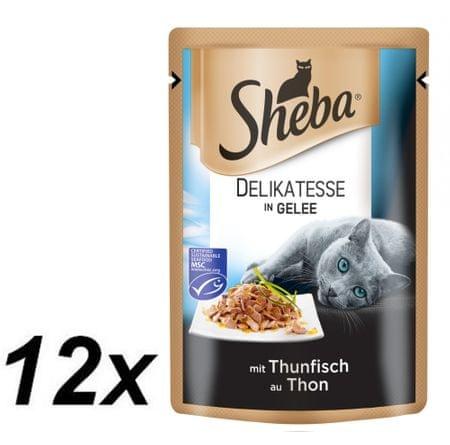 Sheba DELIKATESSE Alutasakos macskaeledel tonhallal, 12 x 85 g