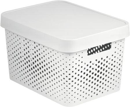 CURVER Tárolódoboz tetővel és pontokkal Infinity 17l, fehér