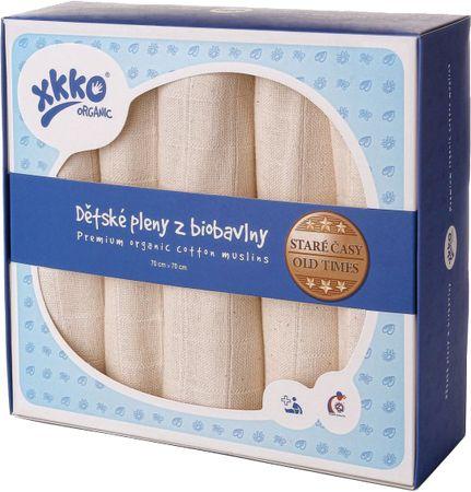 XKKO Biobavlnené plienky 70x70cm - 5ks, Staré časy - natural