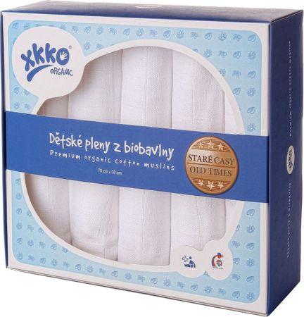 XKKO Biobavlnené plienky 70x70cm - 5ks, Staré časy - biele