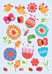 Crearreda dekorativna naljepnica, Ptice i cvijeće