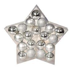 EverGreen Sada koulí Star stříbrná, 20 ks