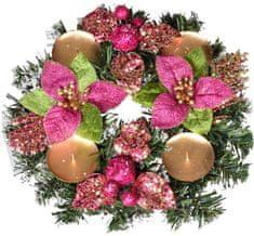 EverGreen Adventní věnec poinsettia růžová