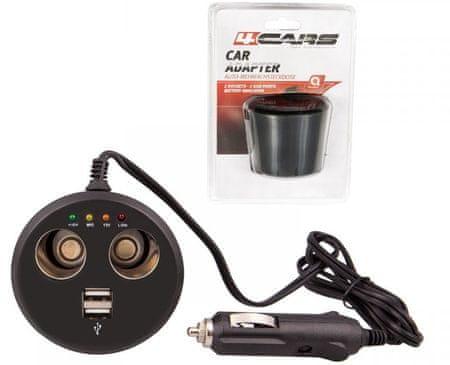 4Cars USB és 12 V töltő Elosztó