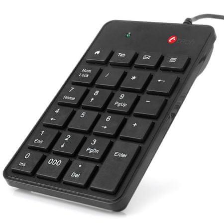 C-Tech Numerikus billentyűzet, 23 billentyű, USB slim fekete (KBN-01)