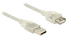 Delock podaljšek USB A-A, transparent, dvojo oklopljen, 1 m