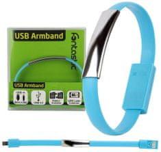 Fontastic Datový kabel micro USB a elegantní náramek BRACELET, 20 cm, modrý - použité