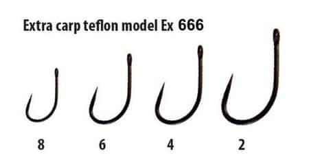 Extra Carp háčky teflon Barbless bez protihrotu - série EX 666 ( 10ks v balení) 2