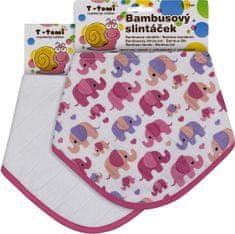 T-tomi Bambusowe śliniaczki, różowe słonie + biały, 2 szt.