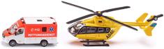 SIKU Mentőkocsi és mentőhelikopter modell