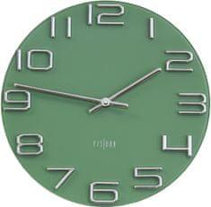 Fisura CL0290 Dombormintás dizájn falióra, Zöld/Ezüst