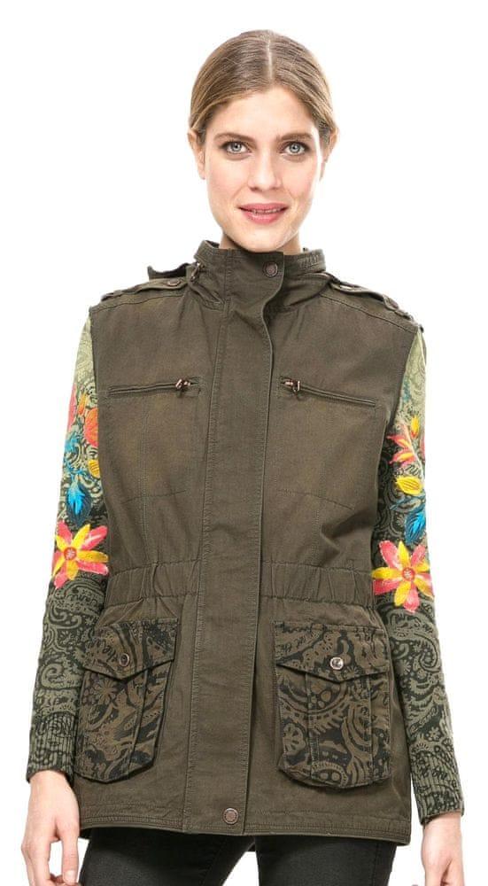 Desigual dámský kabát 36 khaki - Parametry  6b9da029b60