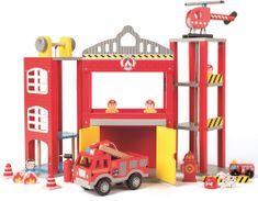 Woody Duża remiza strażacka z samochodzikami