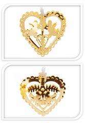 Metalac Svítící řetěz Srdce 10 LED zlatý