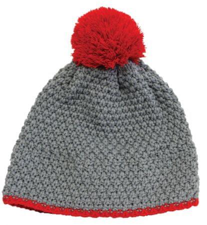 pletena kapa Snow, siva/rdeča