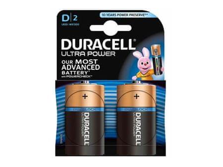 Duracell alkalne baterije Ultra Power MX1300B2 Size D LR20, 2 kosa