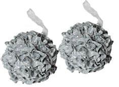 EverGreen božićni ukras, ruža, srebrna, 2 kom