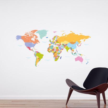 Crearreda stenska nalepka Barvni zemljevid sveta, L