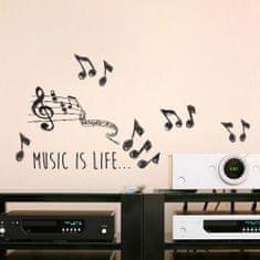 Crearreda zidna naljepnica Music is life natpis M