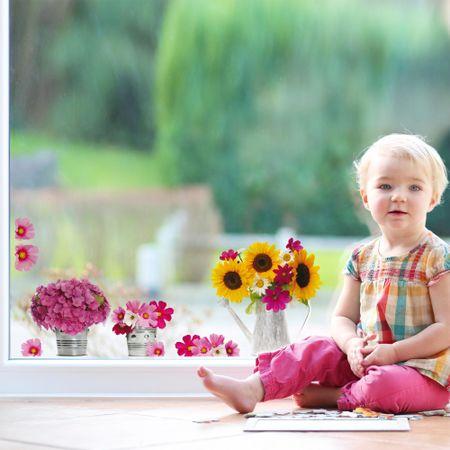 Crearreda okenska dekoracija Zalivalka z rožami, M