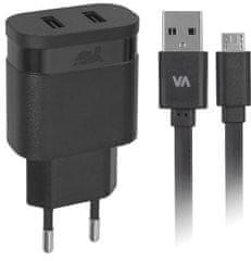 RivaCase hišni polnilec 3,4 A (VA4123) + podatkovno polnilni kabel MicroUSB