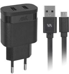 RivaCase hišni polnilec 2,4 A (VA4122) + podatkovno polnilni kabel MicroUSB