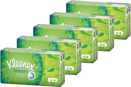 Kleenex papirnati robčki Balsam, 5x 8 pakiranj