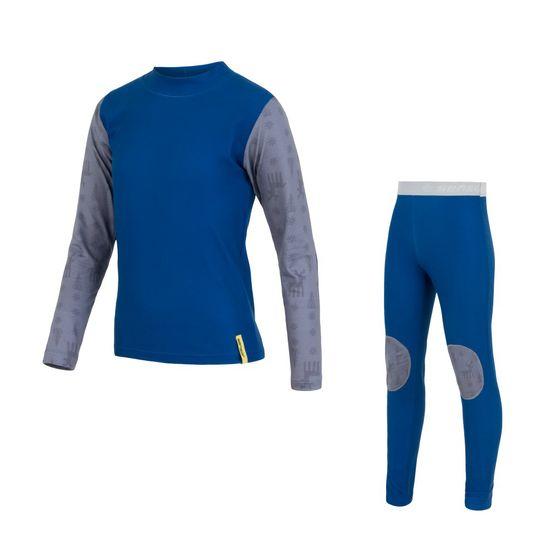 Sensor Flow set dětské triko dl. rukáv+spodky modrá/sobi 150