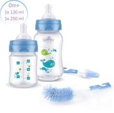 BAYBY Sada 2 dojčenských fliaš 0m+ s kefkami