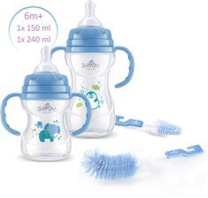 BAYBY Sada 2 kojeneckých lahví 6m+ s kartáčky