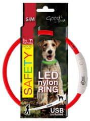 Dog Fantasy Obroża nylonowa LED czerwony