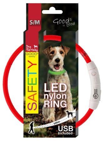 Dog Fantasy LED nejlon nyakörv piros 45