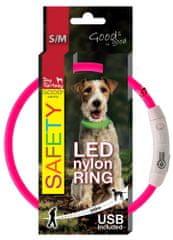 Dog Fantasy LED nejlon nyakörv rózsaszín