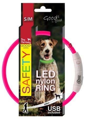 Dog Fantasy LED nejlon nyakörv rózsaszín 45