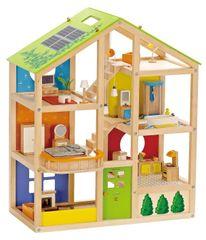 Hape lesena hiša za punčke, opremljena