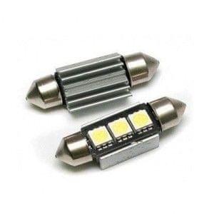 M-LINE žarnica LED 12V C5W 36mm 3xSMD 5050, alu-ohišje, CANBUS, bela, par