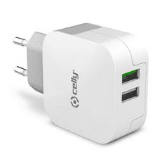 CELLY Cestovní nabíječka TURBO s 2 x USB výstupem, 3.4 A