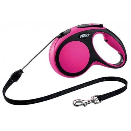 Flexi New Comfort M zsinóros póráz 5m/20kg rózsaszín