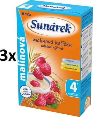 Sunárek Malinová kašička mliečna, 3x225g