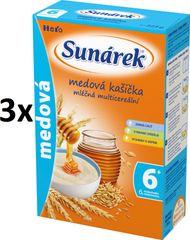 Sunárek Medová kašička mléčná s 8 cereáliemi, 3x225g