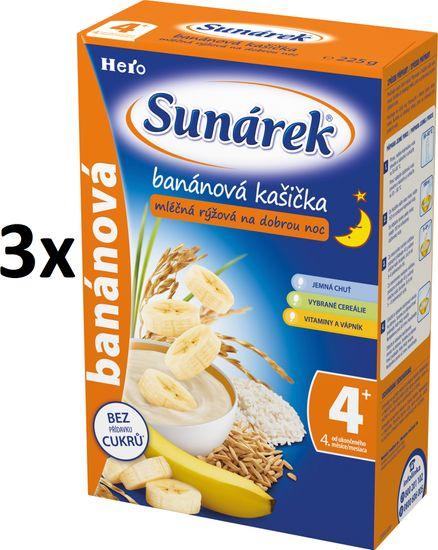 Sunárek Banánová kašička na dobrú noc mliečna, 3x225g