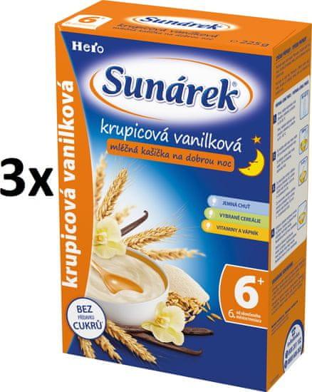 Sunárek Krupicová kašička s vanilkou na dobrú noc mliečna, 3x225g