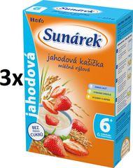 Sunárek Jahodová kašička mliečna, 3x225g