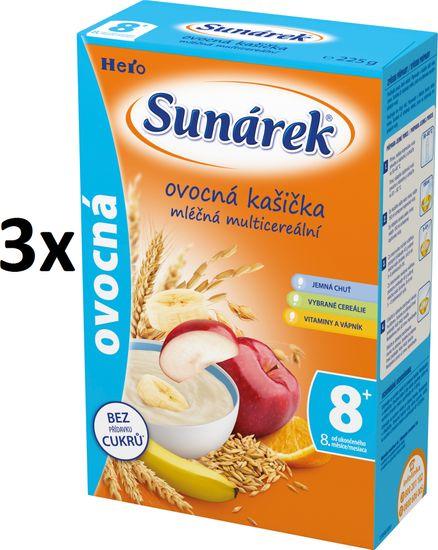 Sunárek Ovocná kašička mliečna, 3x225g