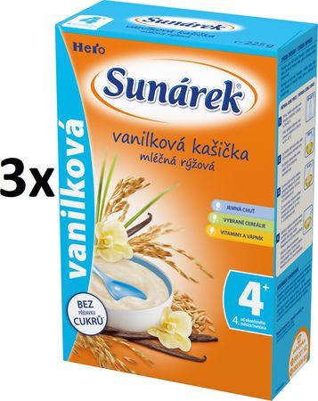 Sunárek Vanilková kašička mléčná, 3x225g